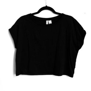 H&M Black Black Crop Top Size Large